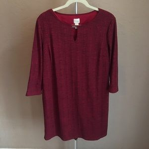 3/$30 Chicos Red Shift Dress Sz 2 Large
